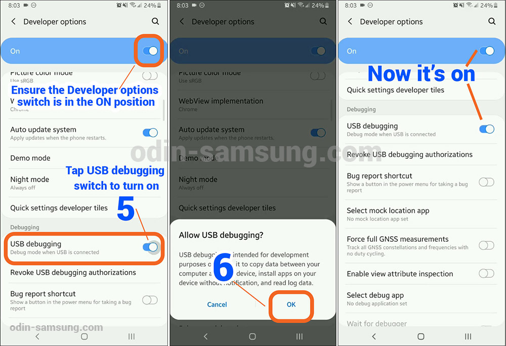developer options, USB debugging Mod enable - Samsung Odin Mode